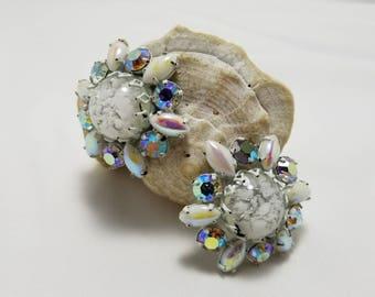 White Art Glass Earrings