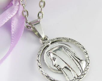 Religious Mother Mary Charm Necklace Silver Tone 45cm