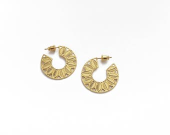 """""""Canopy"""" hoop earrings gilded with gold 24 carat"""