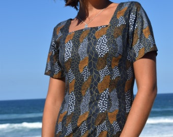 Classic Sheath Dress with Cap Sleeves- Square Neckline- Indigenous Artwork- 100% Cotton