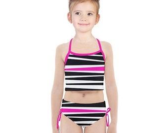 Girls Rogue Pink Stripe Tankini Swimsuit Set - Black White and Pink Kids' Bathing Suit - Children's Fashion Swimwear