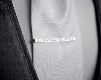 Personalized Tie Clip · Custom Tie Clip · Sterling Silver Tie Clip · Groom Gift · Father of the Bride · Gift for Dad · Custom Tie Bar