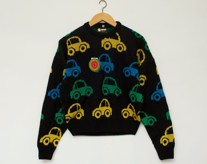Sweater NOS vintage car print black sweater