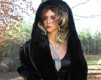 Stunning Black Fur Coat Hooded Vintage New Faux Fur Full Length Monterey Fashions USA Satin Lining Pockets Lg Hood Women Outerwear Elegant