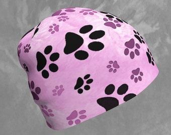 Beanie Paw Print Pink, Dog Paw Print Beanie Hat, Pink Paws Beanie, Girls, Womens, Dog Lover Gift, Pink Beanie With Dog Paw Print Design