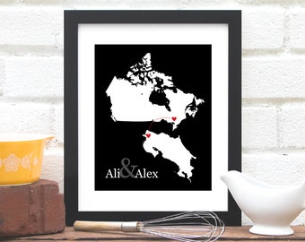 Country to Country Map, Two Location Long Distance Love Custom Gift, Friend Moving Gift Military, Overseas, Out of the Country- Art Print