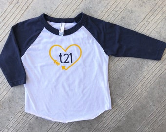 "Down Syndrome Awareness Shirts ~ Navy and White Baseball Tee with Navy and Yellow ""T21"" Logo with Arrow Heart, American Apparel"
