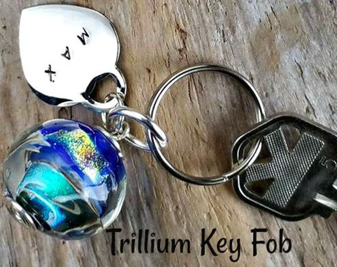 Ashes in Glass Memorial Stone Key Fob & personalized name tag, Pet Memorial, Cremation Jewelry