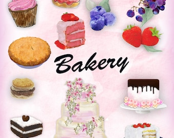 Bakery Clipart, Watercolor clipart sweets, Clipart desserts, Clipart Cakes Watercolor, Digital Clipart, Commercial P 178