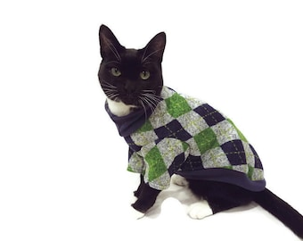 Navy and Lime Argyle Cat Sweater - Cat Clothes - Argyle Cat Sweater - Cat Clothing - Cat Apparel - Pet Clothes - Shirts for Cats -Cat Shirts