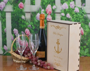 Personalized Wood Champagne Flute Gift Box with 2 Custom Etched Crystal Flutes.