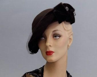 Brown Felt Tilt Hat 1940's New York Creation with Velvet Ribbon Bows Women's War Era Fashions