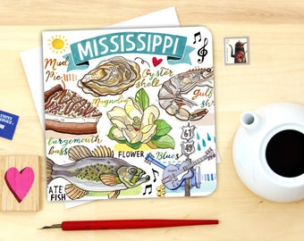 Mississippi Notecard. Single or Pack of 4.