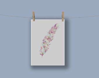 A3 Feather Print in Pink
