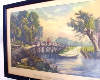 Vintage Framed Currier and Ives Lithograph - The Old Ford Bridge