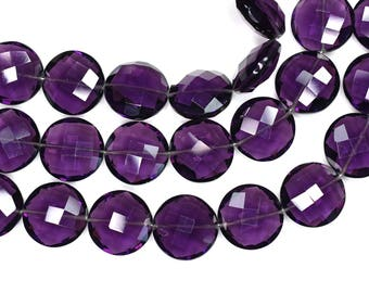 AAA 6 Inch 14mm Purple Amethyst Quartz Faceted Coin Briolette Beads Strand 11 Beads(0486)