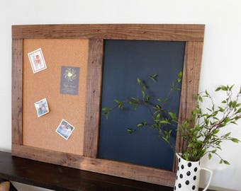 Home Office MESSAGE CENTER - Cork Chalk Board Combo  - Command Center - Industrial Decor - 36x48 - Shown in Medium Brown Stain - 30 Colors