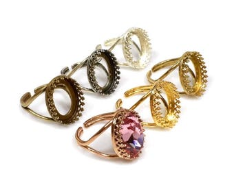 2pcs x Oval 18x13mm Quality Crown Bezel Ring Setting Fit Swarovski 4120 Crystal, Choose Your Finish (8335V)