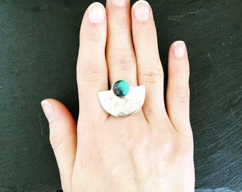 Turquoise + Silver Horizon Ring | Hammered Sterling Arc | Arch Statement Ring | Modern SouthwestJewelry
