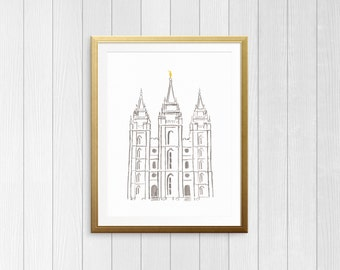 Simple Salt Lake Temple Watercolor Printable, LDS Temple Art, Classic SLC Temple Print, YW Art, Gallery Wall Art, Instant Digital Download