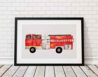 Fire Truck Print of Hand Painted Watercolor Art 8 x 11 and 5 x 7
