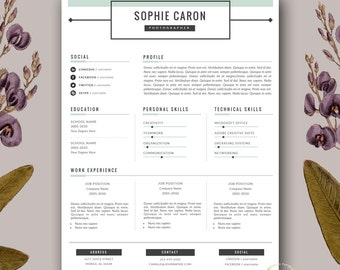 Stylish Resume Templates for MS Word and von BotanicaPaperieShop
