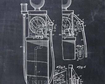 First Gas Pump Patent Print - Gas Pump Patent Art Print - Patent Poster - Wall Art - Automobile - Gas Station Art - Gas Art