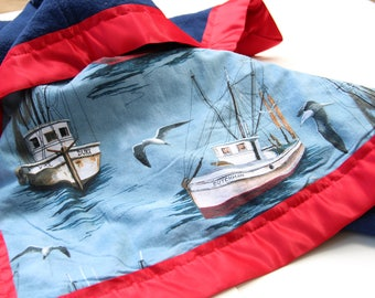Fishing Boat, Baby Blanket, red, blue