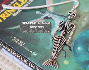 Mermaid Skeleton Bookmark, goth bones