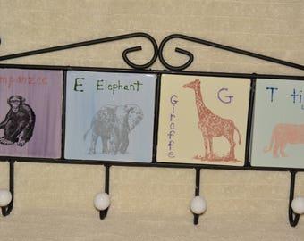 Coat Rack, Towel Rack, Kids, Nursery, Zoo, Chimp, Elephant, Giraffe, Tiger, Pastel, Cast Iron , Ceramic Tiles, Purple, Blue, Yellow, Green
