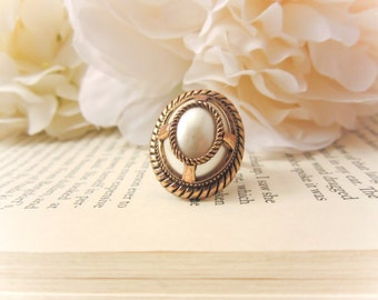 Vintage button ring, Tribal ring, pearl ring, antique, adjustable ring, free shipping