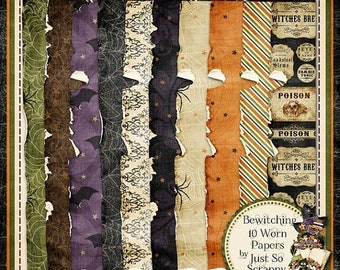 On Sale 50% Off Bewitching Digital Scrapbook Kit Worn Papers Pack - Digital Scrapbooking