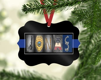 police officer ornament fathers day gift police ornament gift thin blue line ornament police officer gift tag cop ornament cop dad - Police Officer Christmas Decorations