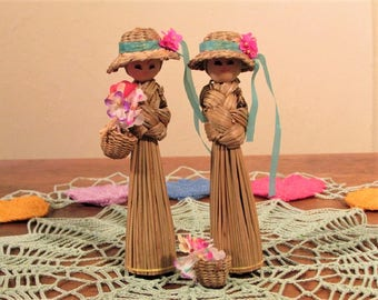 Woven Straw Doll, Vintage Broom Straw Doll, Woven Doll with Hat and Flower Basket, Two Straw Dolls with Wooden Heads, Woven Straw Girl