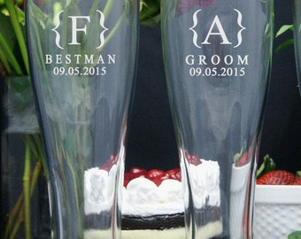 Personalized Beer Glasses / Groomsmen Gifts / Etched Glasses / 16oz Pilsner Beer Glass / Engraved  / Wedding / Set of 10 / 16 DESIGNS