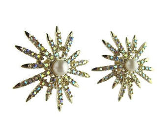 Vintage Emmons Clip Earrings Mid Century Starburst AB Rhinestone Gold Tone Signed