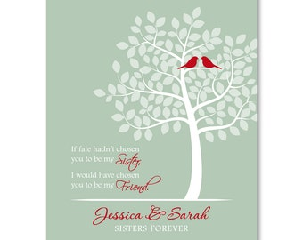 Valentine's Day Gift for Sister - Personalized Sister Gift / Present - Unique Birthday Gift - Custom Sister Art Print - 8x10 or 11x14