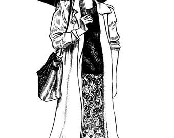 Girl With Umbrella print