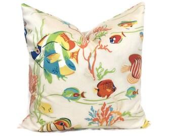 Ocean Tropical Sealife Throw Pillow Cushion Cover // Designer Duralee Delmar // Decorative Coastal Beach Decor // 18X18 20X20 22X22 Lumbar
