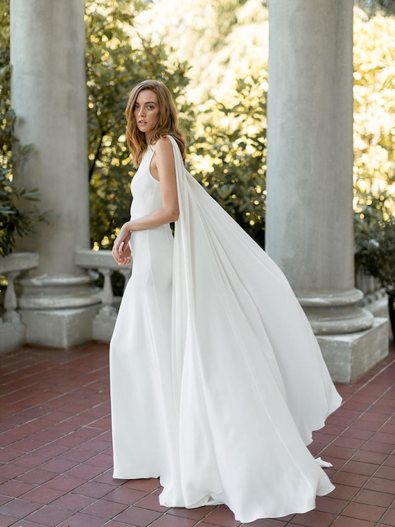Modern Sophisticated Bridal Gown Ivory Cape Wedding Dress