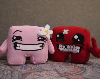 Super Meat Boy and Bandage Girl from the video game, cute doll of video game character, gift for gamer, small toy for geek home decor