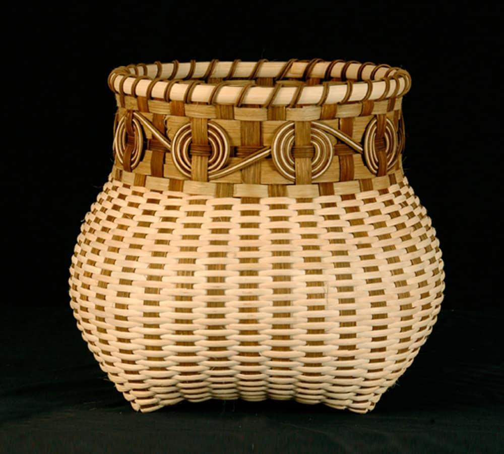 Cherokee Wheels Hand Woven Basket In Natural Colors wicker