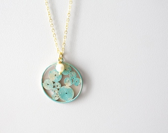 Brass turquoise filigree disk pendant swirl style, pearl necklace