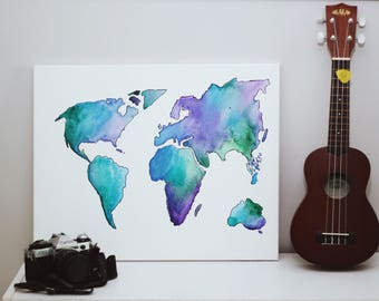 World Map Watercolor Canvas - 16x20