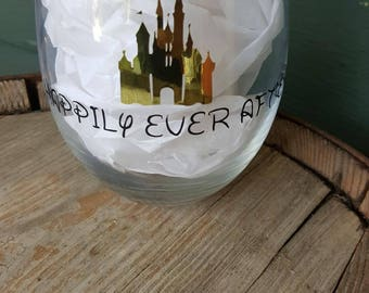 Happily Ever After Disney Stemless Wine Glass