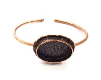 Copper Bracelet Blanks Bangle Blanks Cuff Blanks Adjustable Bracelet Blank Antique Copper Plated Brass (24x17mm Blanks ) G9408