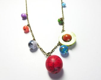 Planets Necklace -Galaxy necklace - Solar System necklace - Space Jewelry  and free gift
