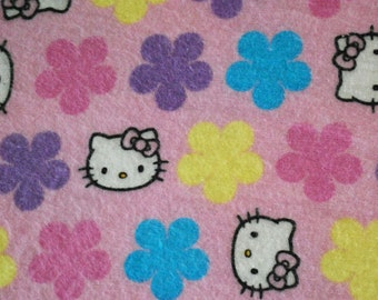 Made to Order Pink, Purple Blue Flower Hello Kitty Unisex Adult Flannel Pajama Pants