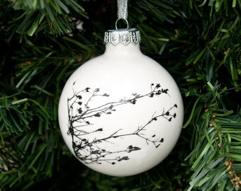 Modern Christmas Ornament, White Christmas Bauble, Handmade Christmas Decoration