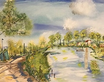 Original Painting*Stroll along the river